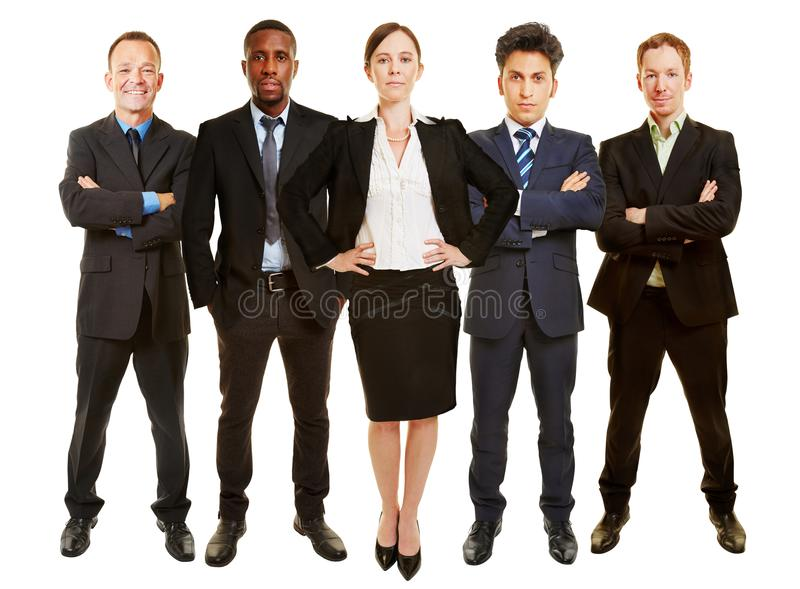 Businesswoman as managing director with business team royalty free stock photography