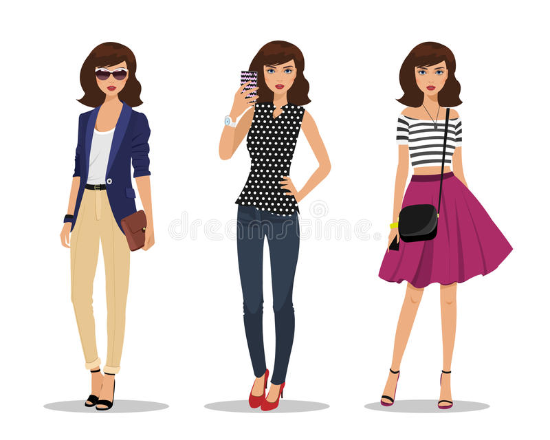 Businesswoman with bag, young girl making selfie and romantic style girl. Women in fashion clothes. vector illustration