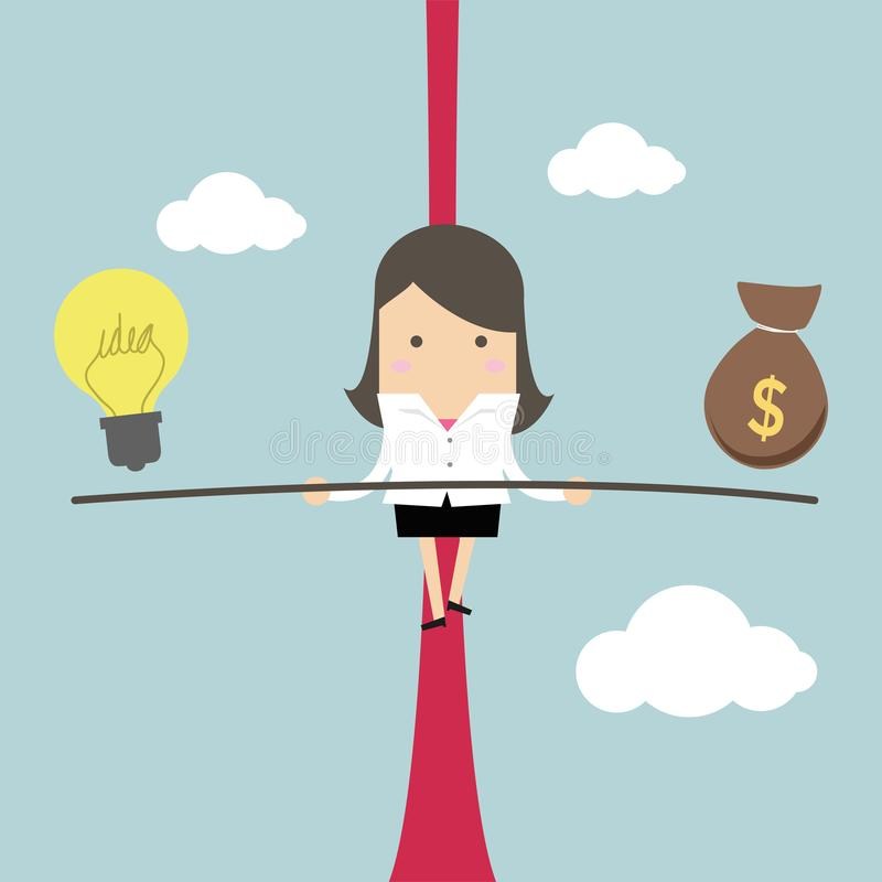 Free Businesswoman Balancing On The Rope With Ideas And Money. Stock Image - 132609121