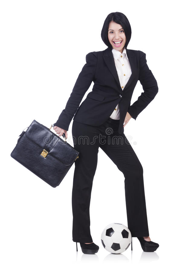 Download Businesswoman with ball stock image. Image of football - 31752803