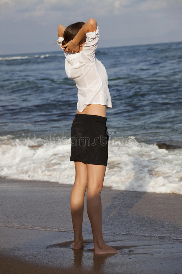 Businesswoman On The Beach Stock Photography