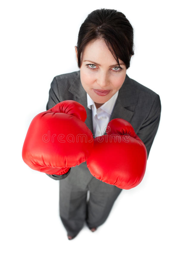 Download Businesswoman Beating The Competition Stock Photo - Image of competitive, fighter: 12445684