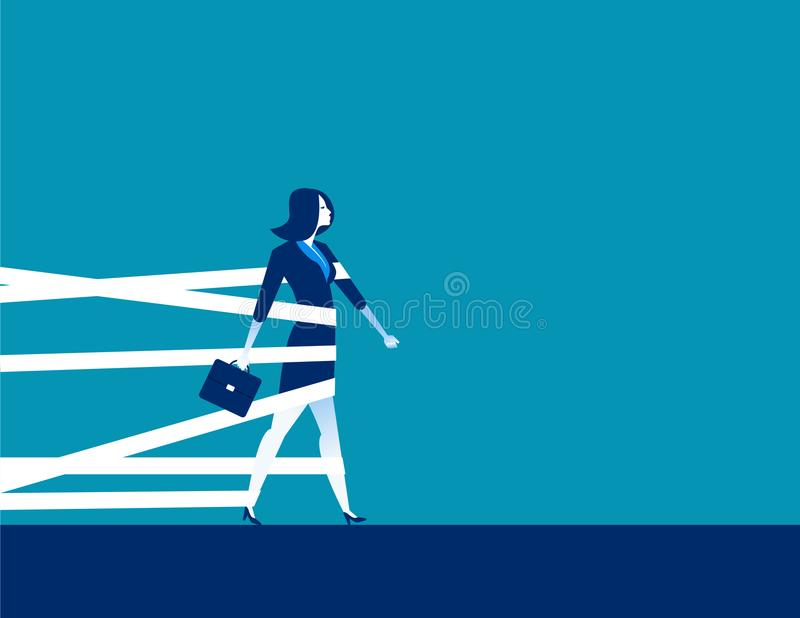 Businesswoman being held back by tape. Concept business vector. stock illustration
