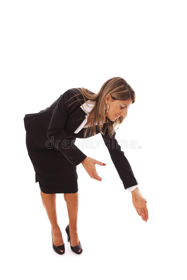 Businesswoman bending over stock images