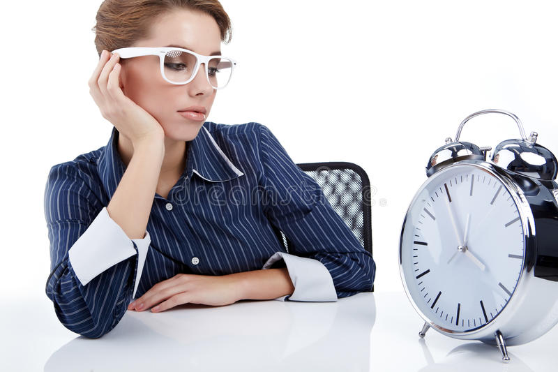 Download Businesswoman With A Big Clock Stock Image - Image: 16402933