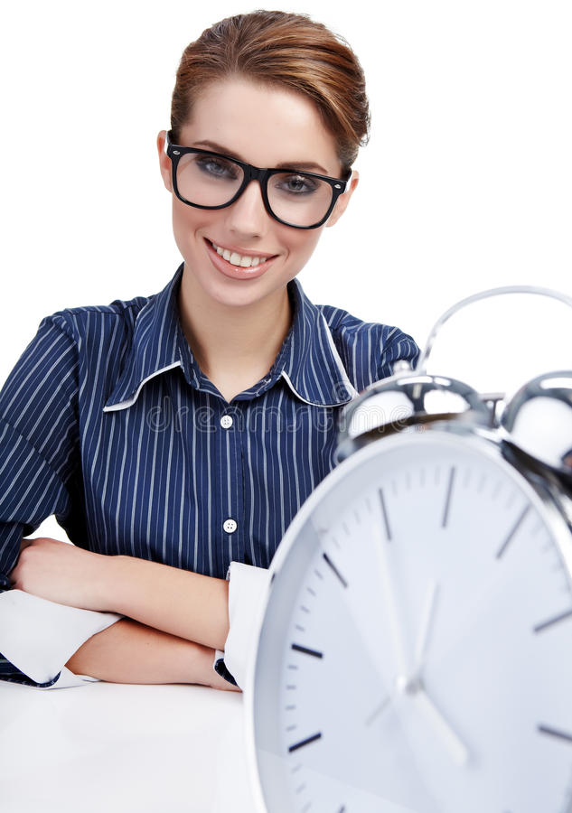 Download Businesswoman With A Big Clock Stock Photo - Image: 16403166