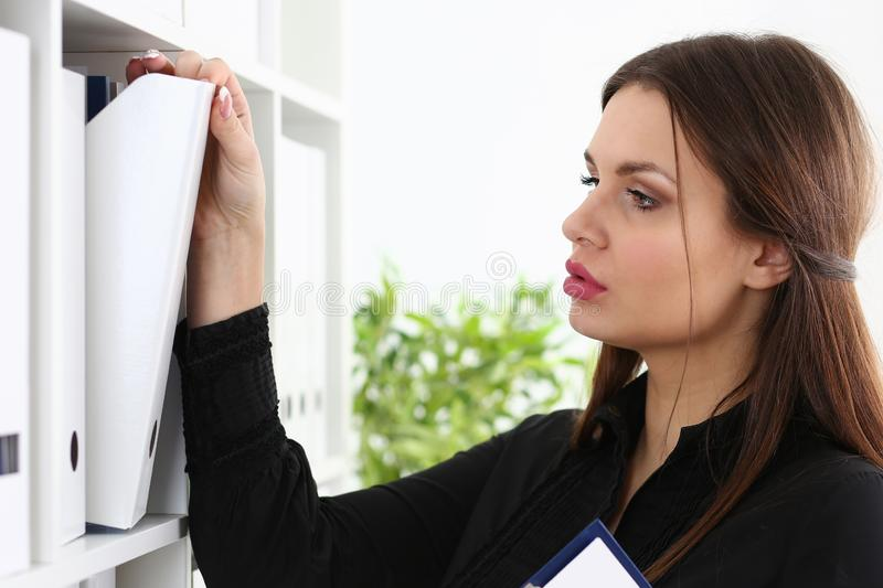 Businesswoman binders Female accountant archiving stock images