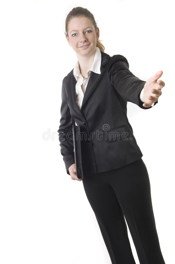 Businesswoman with black book stock photo