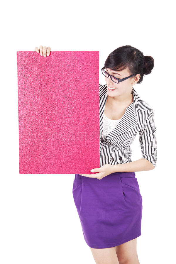 Download Businesswoman With Blank Board Stock Photo - Image of isolated, copy: 26366930