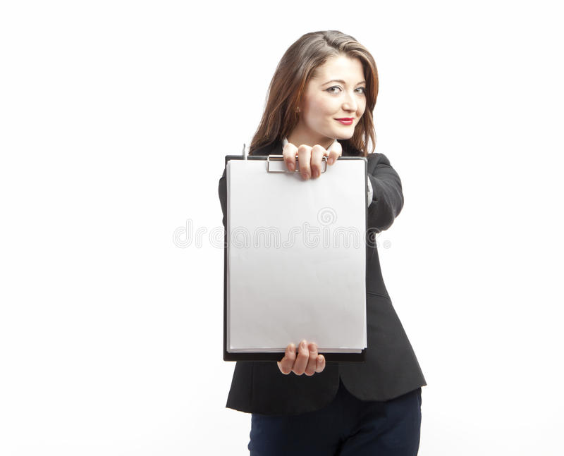 Businesswoman with blank clipboard royalty free stock images