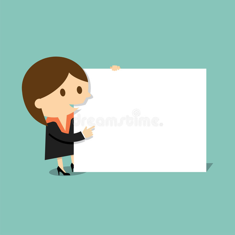 Businesswoman with blank paper vector illustration