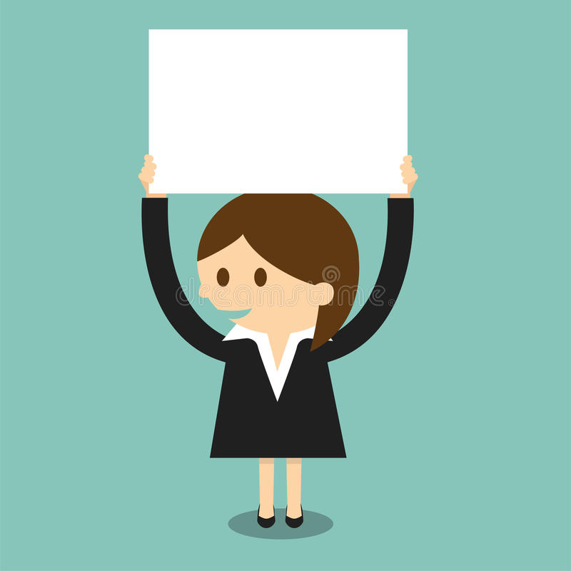 Businesswoman with blank paper stock illustration