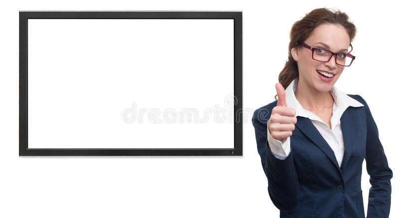 Businesswoman and blank screen with copy space. Businesswoman and blank monitor screen with copy space royalty free stock image