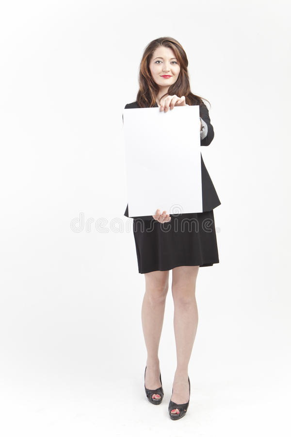 Businesswoman with blank sign royalty free stock photo