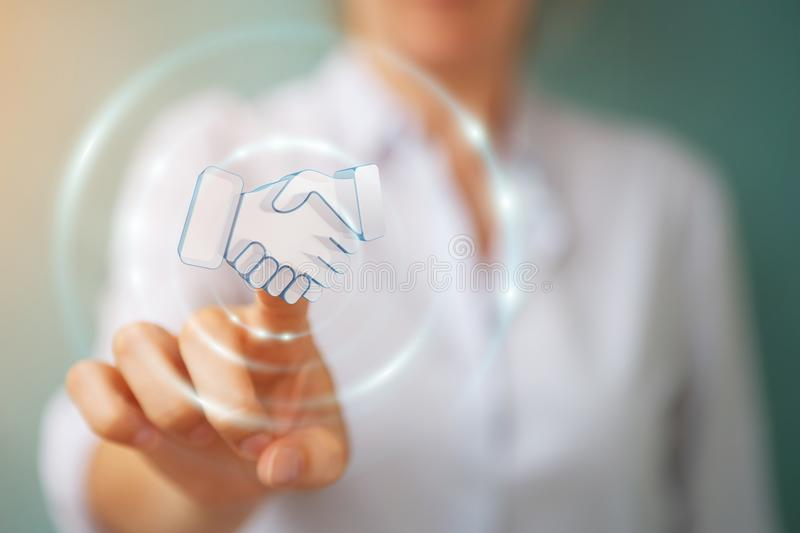 Businesswoman concluding a partnership 3D rendering stock illustration