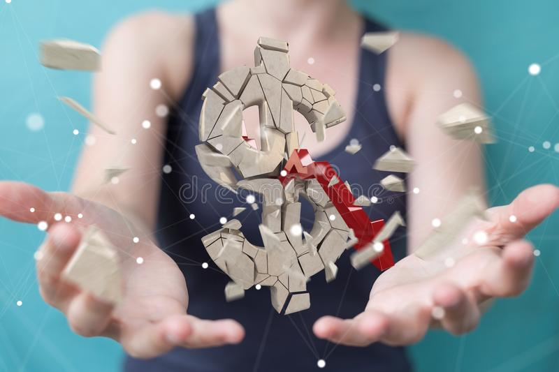 Businesswoman with exploding dollar currency 3D rendering vector illustration