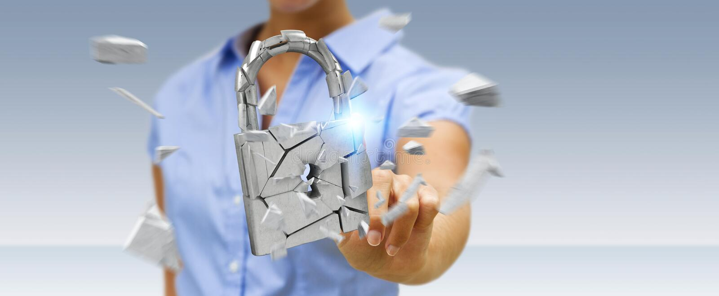 Businesswoman hacking in broken padlock security 3D rendering royalty free illustration