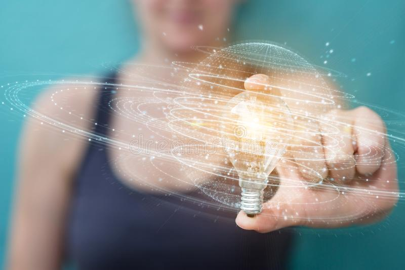 Businesswoman holding a lighbulb with connections in her hand 3D rendering vector illustration