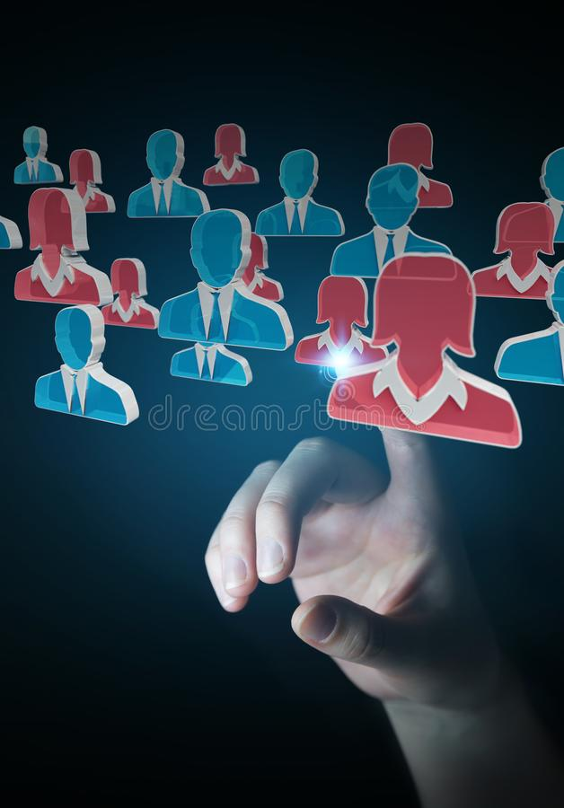 Businesswoman recruiting candidate for a job 3D rendering vector illustration