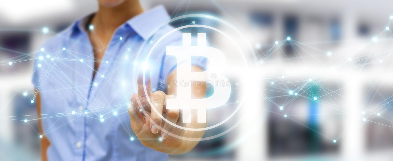 Businesswoman using bitcoins cryptocurrency 3D rendering. Businesswoman on blurred background using bitcoins cryptocurrency 3D rendering vector illustration