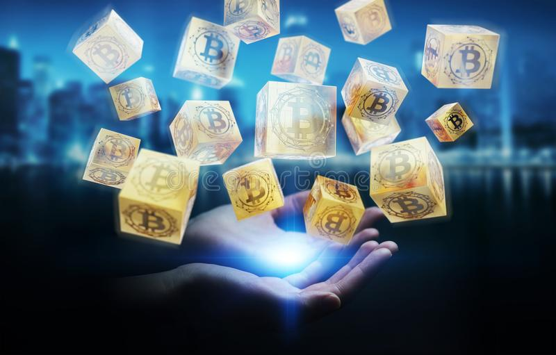 Businesswoman using bitcoins cryptocurrency 3D rendering. Businesswoman on blurred background using bitcoins cryptocurrency 3D rendering stock illustration