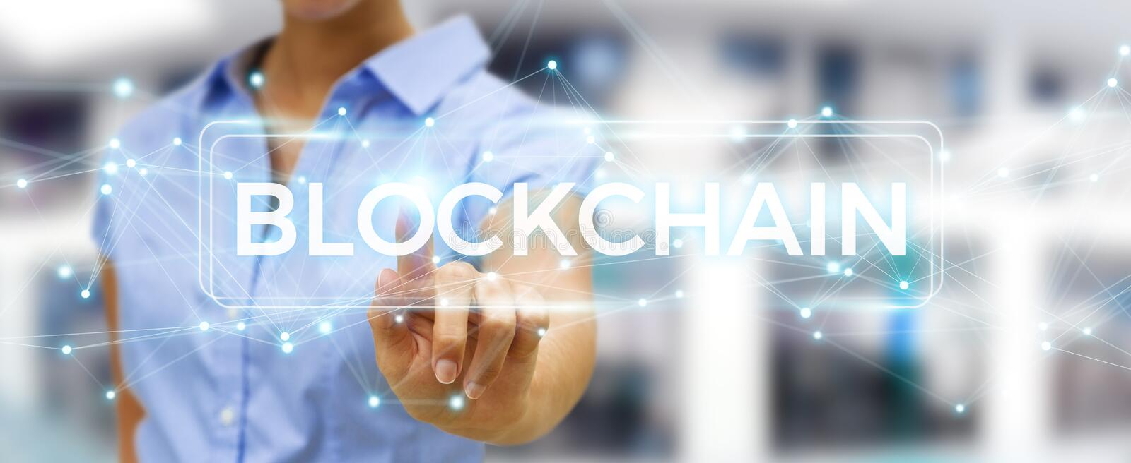 Businesswoman using blockchain cryptocurrency interface 3D rendering. Businesswoman on blurred background using blockchain cryptocurrency interface 3D rendering royalty free illustration