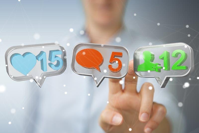 Businesswoman using digital colorful social media icons 3D rendering stock illustration
