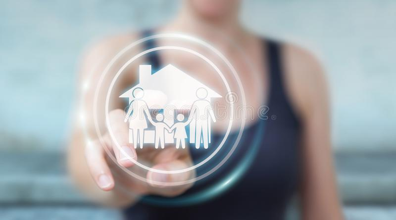 Businesswoman using family care insurance application 3D rendering. Businesswoman on blurred background using family care insurance application 3D rendering royalty free illustration