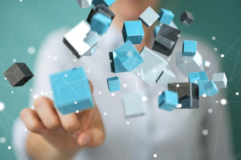 Businesswoman using floating blue shiny cube network 3D rendering stock illustration