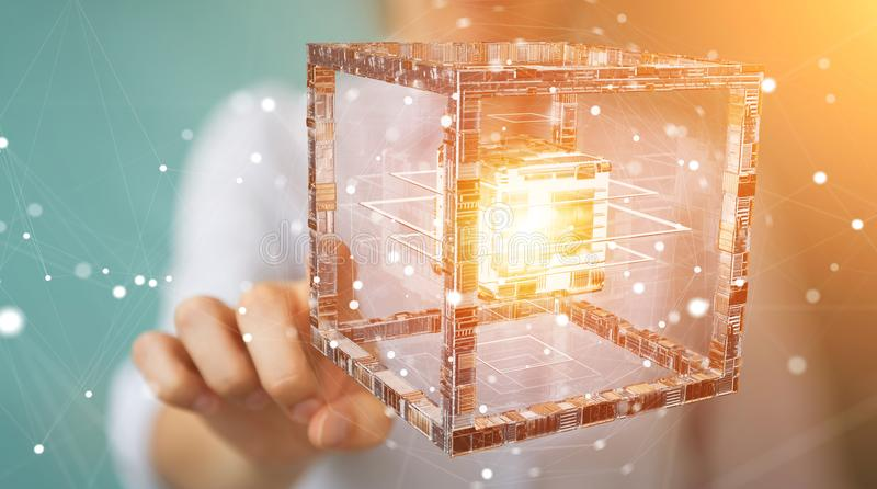 Businesswoman using futuristic cube textured object 3D rendering. Businesswoman on blurred background using futuristic cube textured object 3D rendering stock illustration