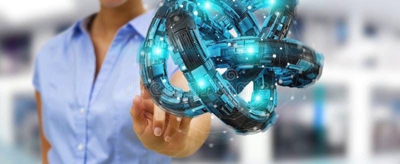 Businesswoman using futuristic torus textured object 3D rendering. Businesswoman on blurred background using futuristic torus textured object 3D rendering stock illustration