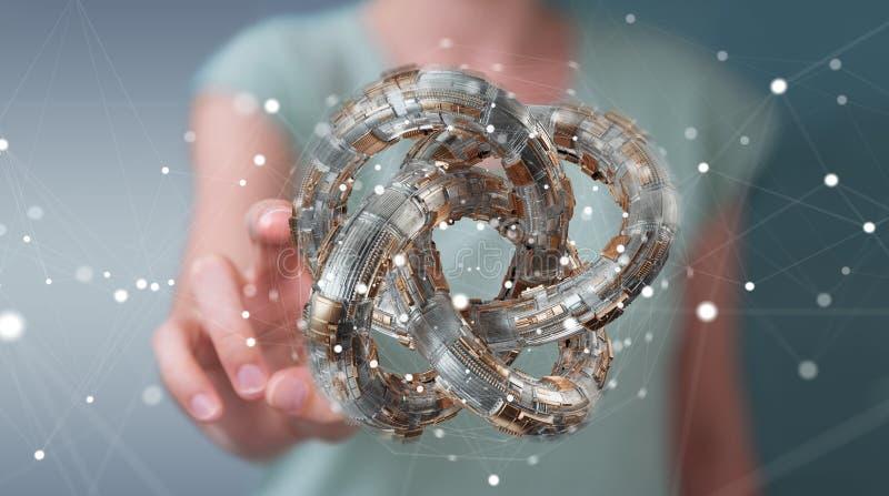 Businesswoman using futuristic torus textured object 3D rendering. Businesswoman on blurred background using futuristic torus textured object 3D rendering vector illustration