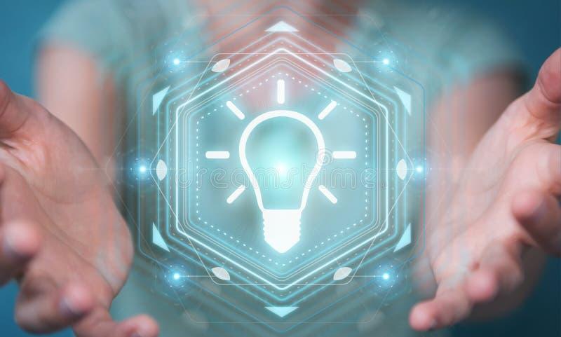 Businesswoman using lightbulb idea interface 3D rendering stock illustration