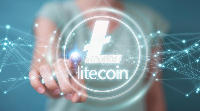 Businesswoman using litecoins cryptocurrency 3D rendering. Businesswoman on blurred background using litecoins cryptocurrency 3D rendering stock illustration