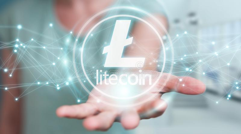 Businesswoman using litecoins cryptocurrency 3D rendering. Businesswoman on blurred background using litecoins cryptocurrency 3D rendering royalty free illustration