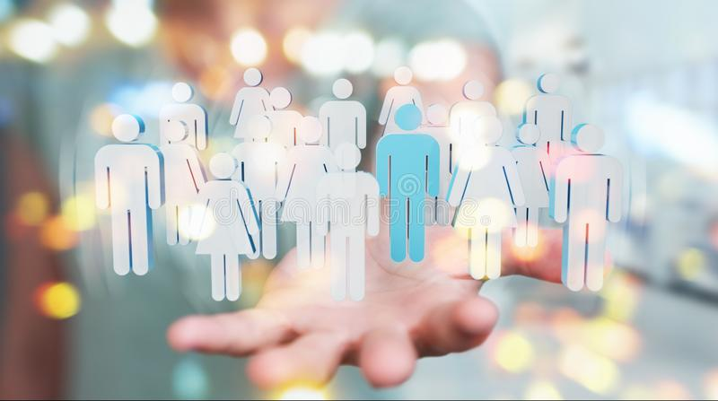Businesswoman holding group of people 3D rendering royalty free illustration