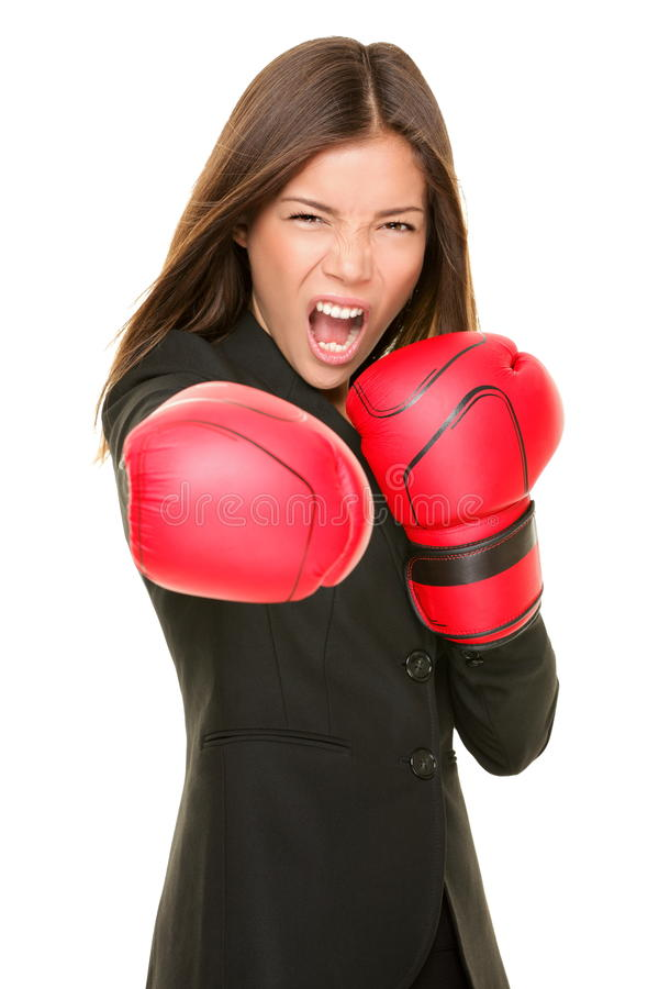 Businesswoman boxing royalty free stock image