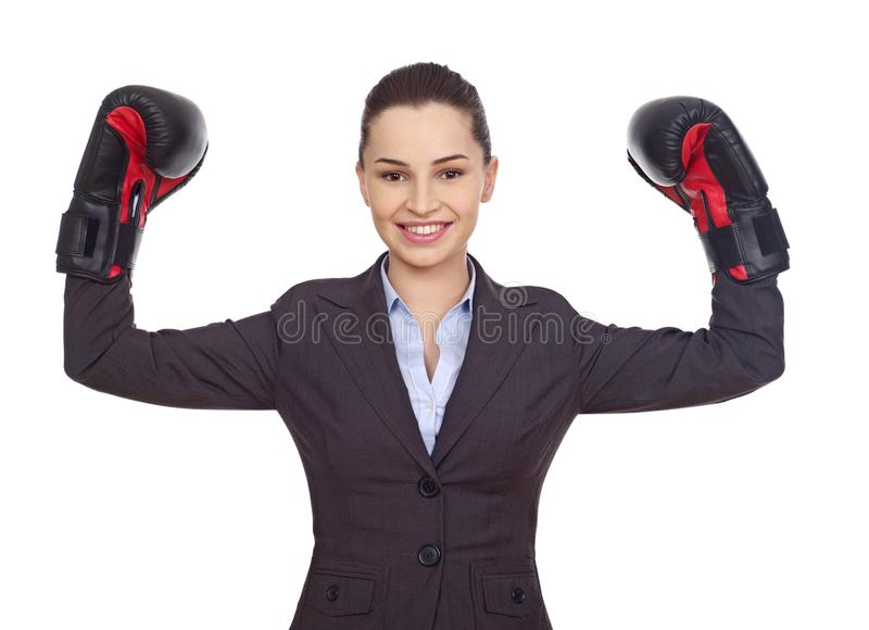 Businesswoman with boxing gloves stock photo