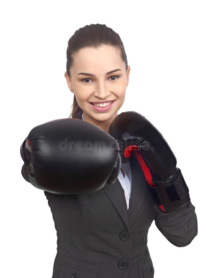 Businesswoman with boxing gloves stock images