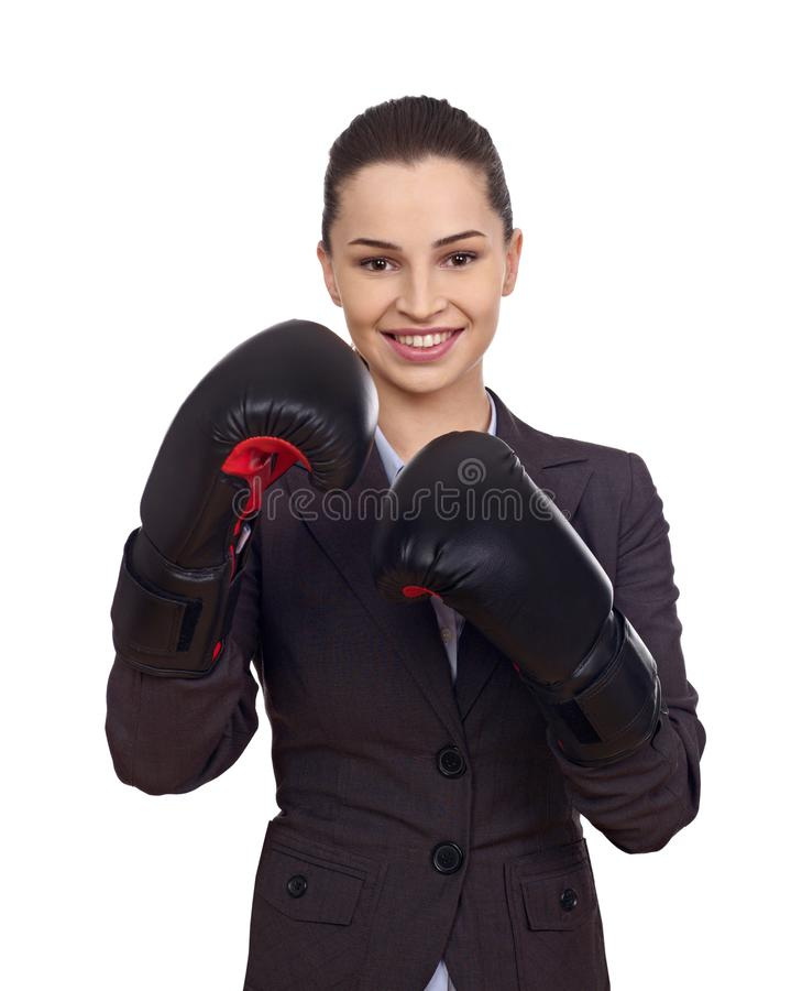 Woman with boxing gloves stock photos