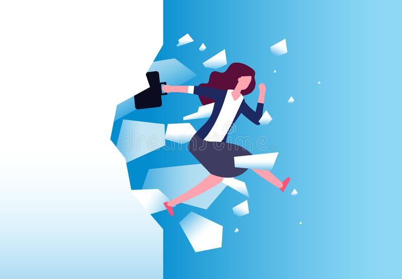 Businesswoman breaking wall. Strong woman jamps through barrier. Free people, action and overcome vector concept. Business female break wall, leadership power vector illustration