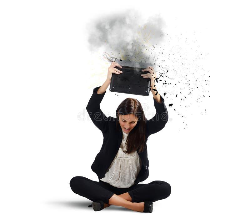 Businesswoman breaks her laptop royalty free stock image
