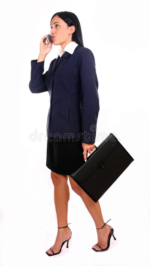 Businesswoman and briefcase royalty free stock photography