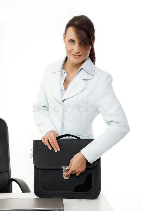 Businesswoman with briefcase royalty free stock image