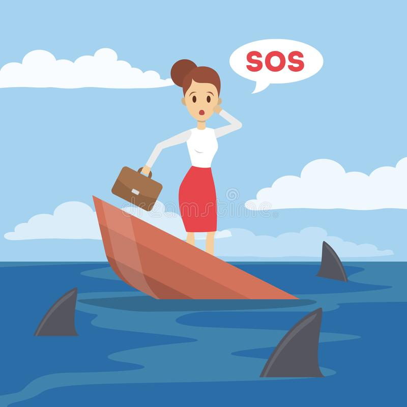Businesswoman on boat. vector illustration