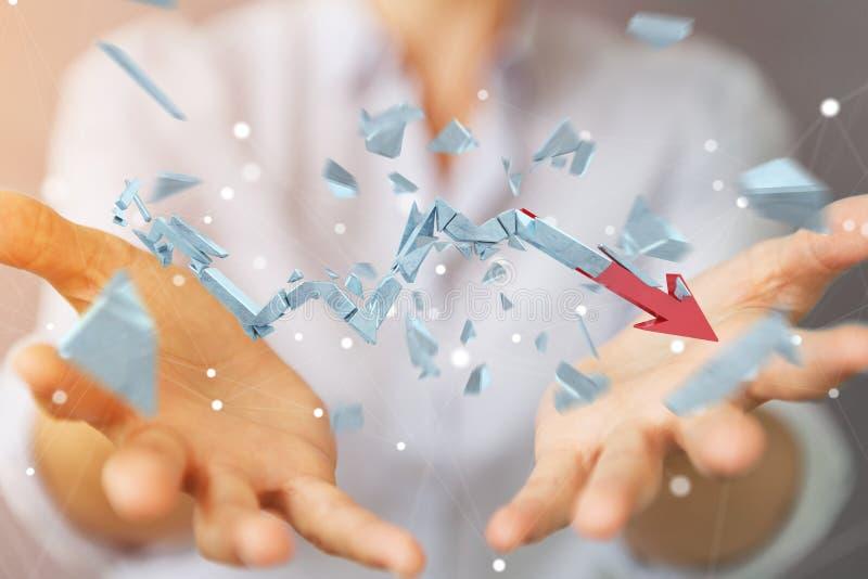 Businesswoman with broken crisis arrow 3D rendering vector illustration