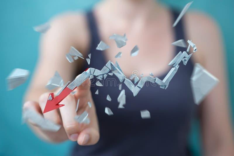 Businesswoman with broken crisis arrow 3D rendering stock illustration