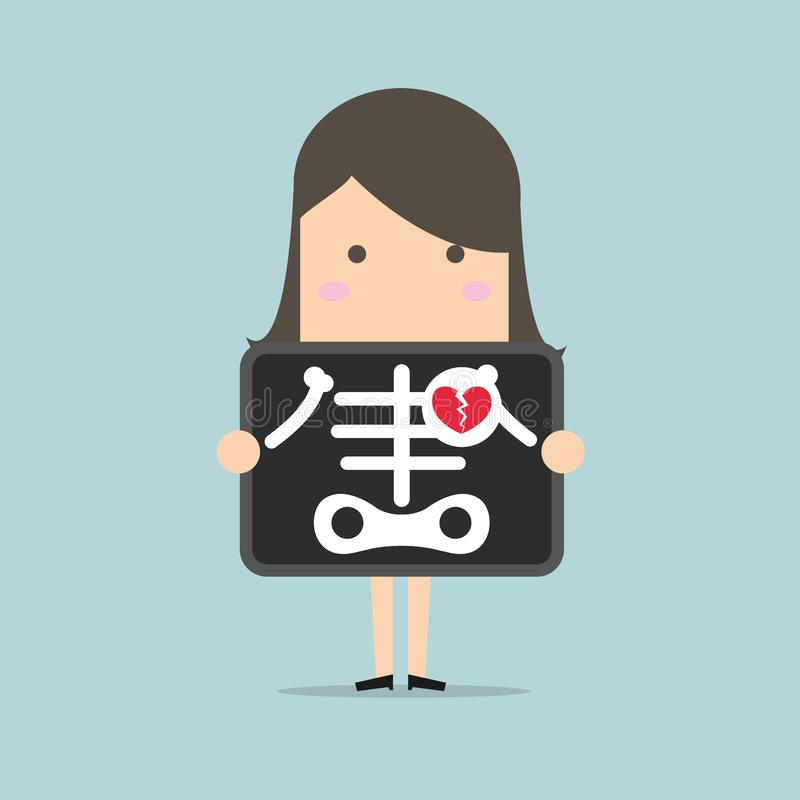 Businesswoman broken heart with x-ray scan, heartbreak stock illustration