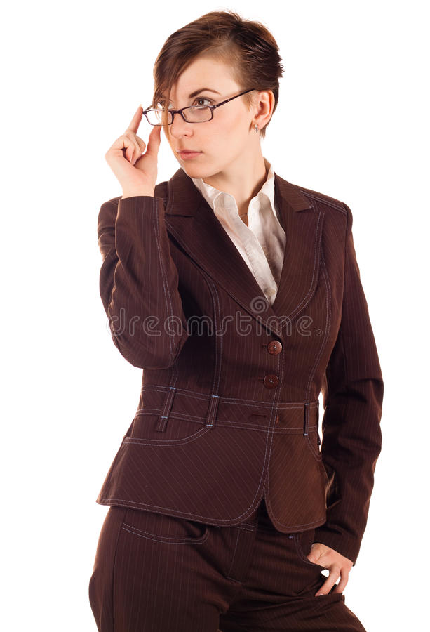 Download Businesswoman In Brown Suit Stock Photo - Image: 12870056