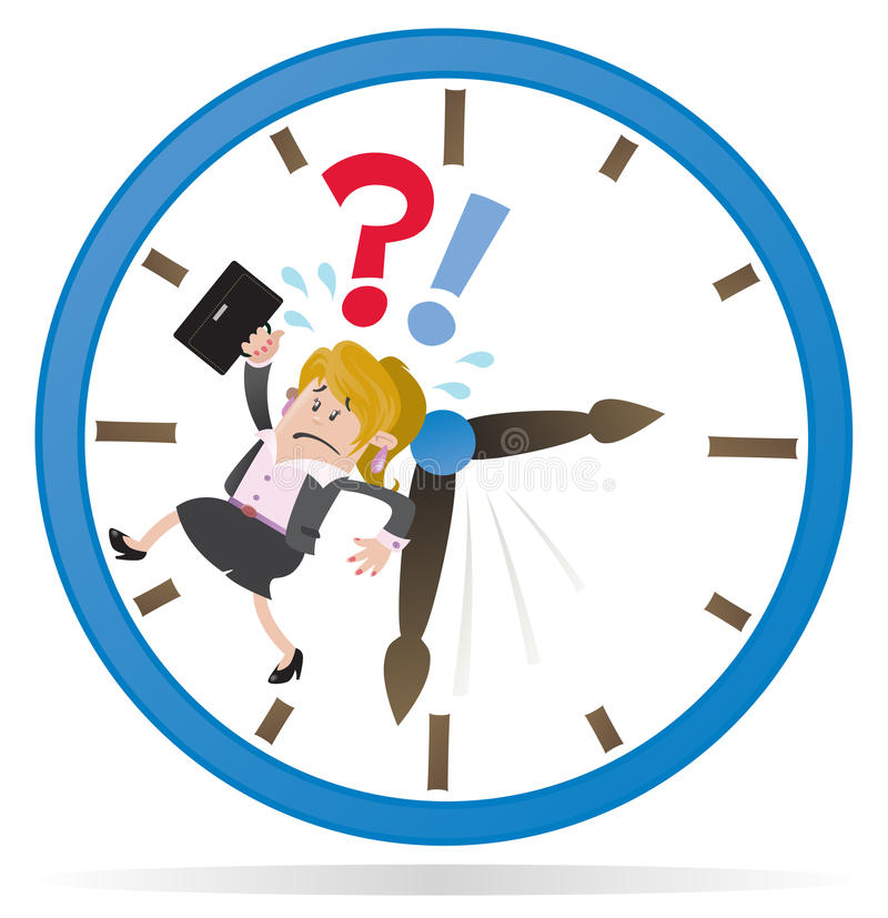 Businesswoman Buddy is Running out of Time. Illustration of a Businesswoman Buddy clearly very distressed as she is running out of time in her giant royalty free illustration
